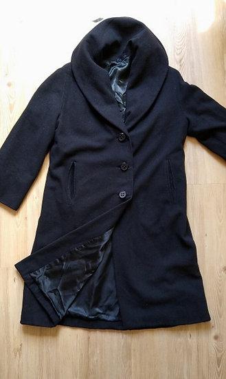 Casaco de lã preto longo - M