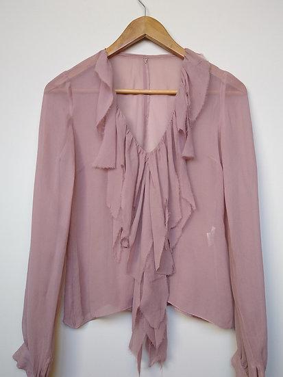 Blusa de seda com babados Daslu - P