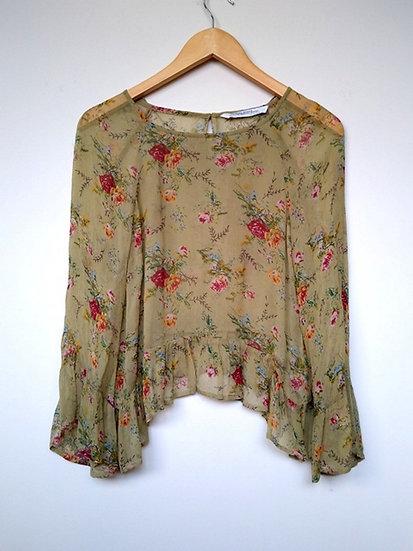Blusa cropped estampada Zara - P