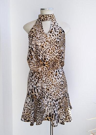 Vestido animal print cavado  Esmeral - P