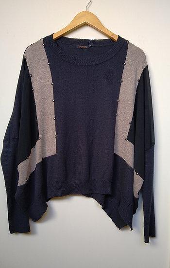 Blusa ampla tricô bicolor Spezzato - P M