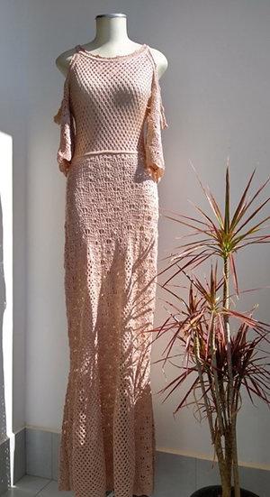 Vestido longo manga vazada Galeria do Tricot - P