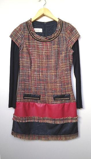 Vestido de lã xadrez Garnús - M