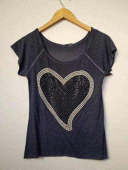 Camiseta coração pedrarias Nina Rosa - P