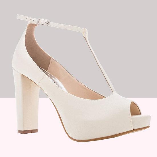sapato peep toe creme acetinado santa scarpa - 36