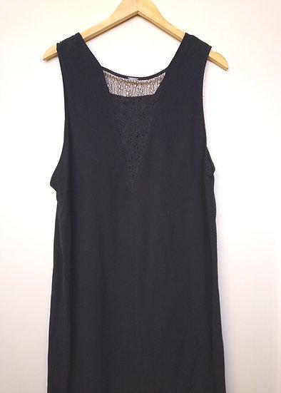 Vestido tubinho Canal em crepe preto - G