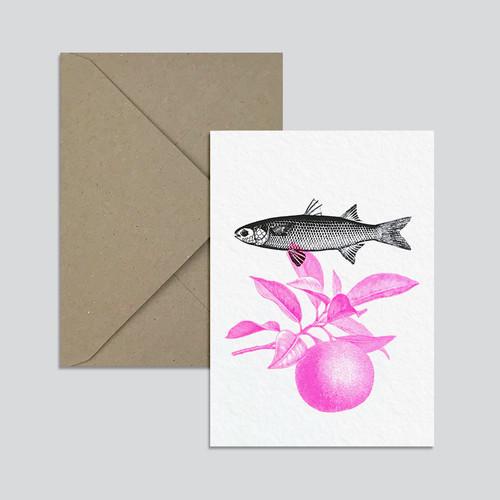 Grusskarte Fisch/Orange