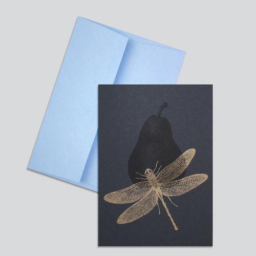 Grusskarte Libelle+Birne