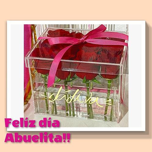 Rosas en caja acrilico