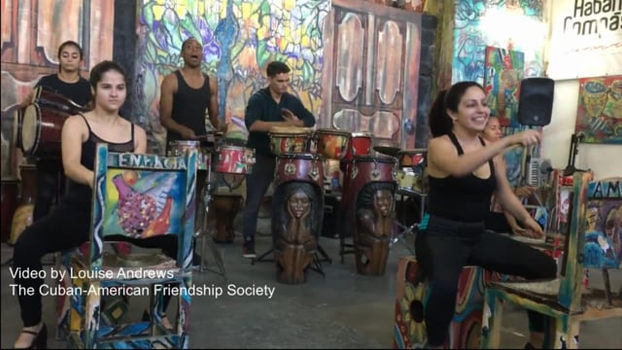 Habana Compás's chair drumming for the Cuban American Friendship Society group March 2019