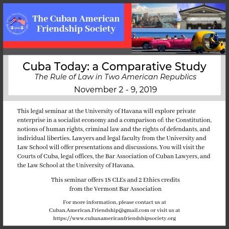 Cuba CLE Trip November 2-9, 2019