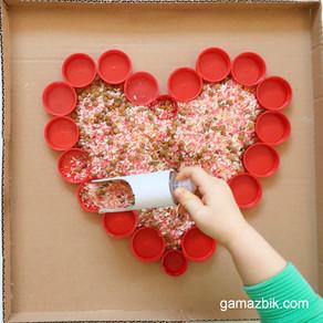 Zabawa ziarnami - Walentynkowe serce