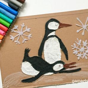 Pingwiny - Malowanie plasteliną