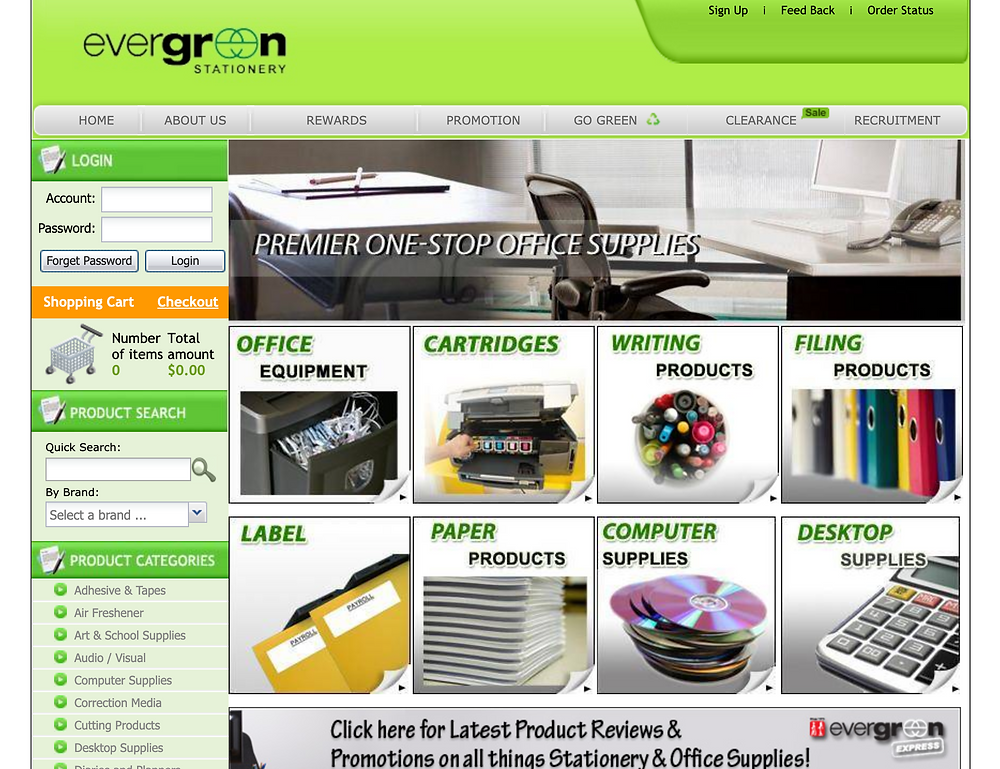 Evergreen Online - Stationery