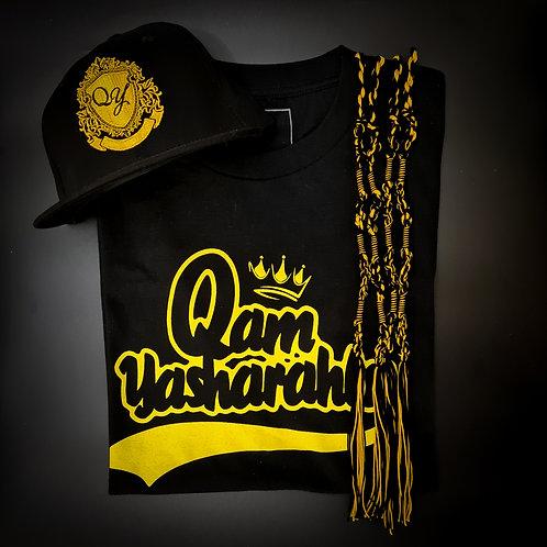 QAM YASH CLTH - Yellow/Black T-Shirt, Tassels & Baseball Cap combo