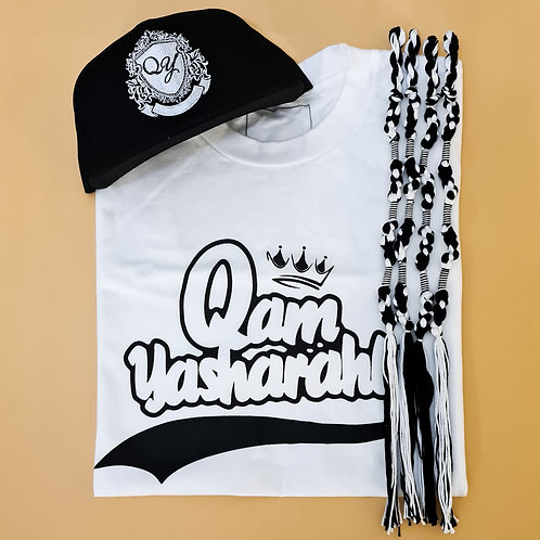 QAM YASH CLTH - Black/White T-Shirt, Tassels & Baseball Cap combo