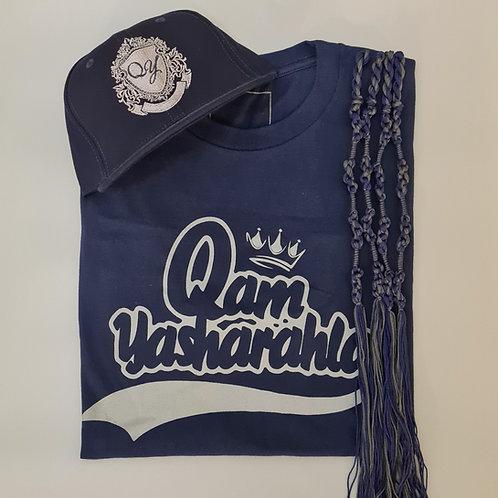 QAM YASH CLTH - Grey/Navy T-Shirt, Tassels & Baseball Cap combo