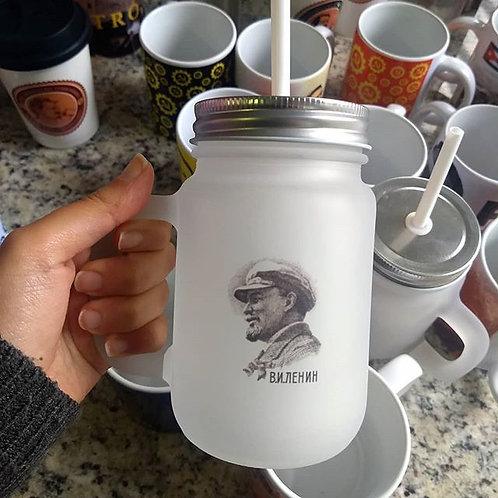 Caneca Lenin vidro jateado com tampa e canudo 450 ml