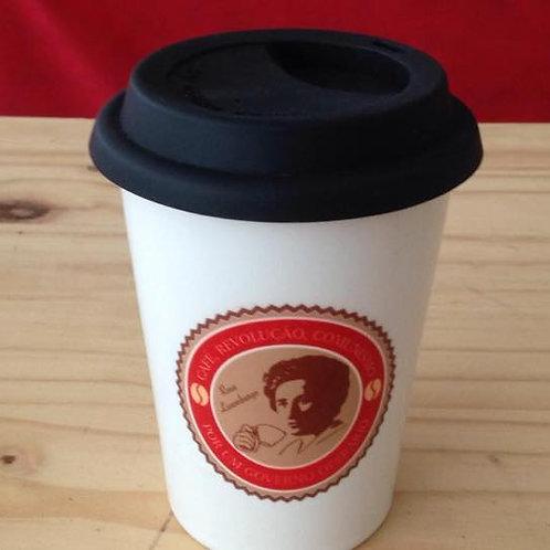 Copo de café com tampa Rosa Luxemburgo