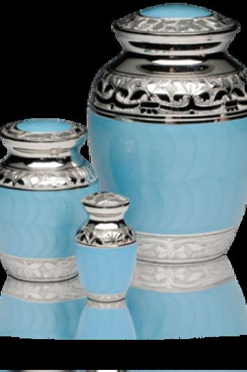 B-1528 Baby Blue Enamel and Silver Urn