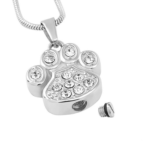 J-756  Stainless Slteel Cremation Urn Pendant  Paw Print with Clear Stones