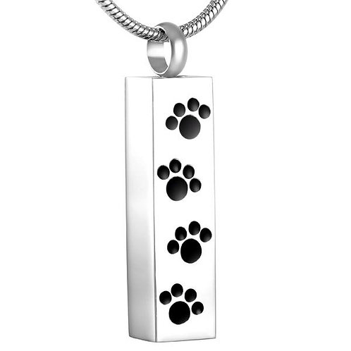 J-600 Stainless Steel Cremation Urn Pendant   - Cylinder with Four Paw Prints