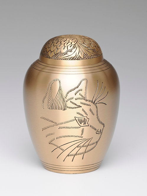 B1576 Kitty Solid Brass Cremation Urn -  Golden or Pewter