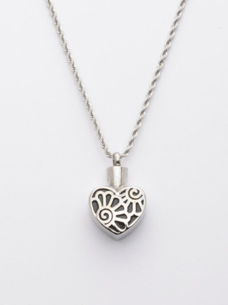J-021 Cremation Urn Pendant with Chain, Heart - Flowers