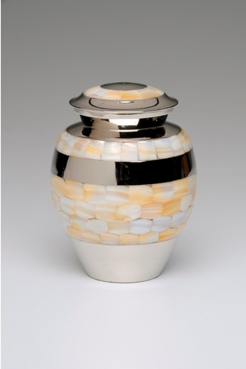 B1518 Mother of Pearl Nickel Plated Brass Cremation Urn