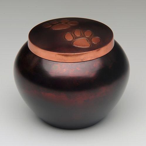 "B1536  ""Odyssey"" Copper Raku Paw Print Urn"