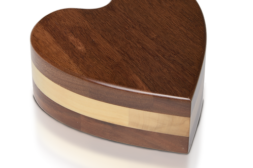 Acacia Wood Heart Pet Urn