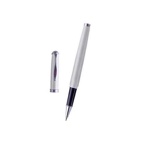 Bolígrafo metálico roller, cuerpo en color plata.