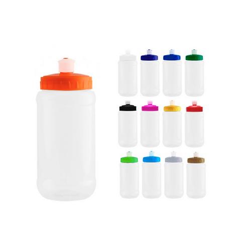 Cilindro de PET transparente con tapa de plástico en colores sólidos y boquilla