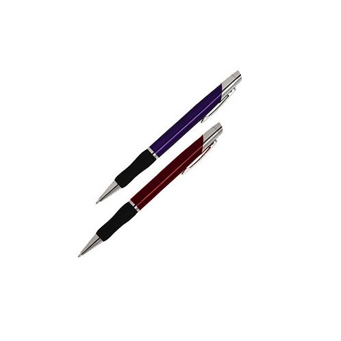 Bolígrafo metálico con mecanismo retráctil, detalles plateados y grip de goma.