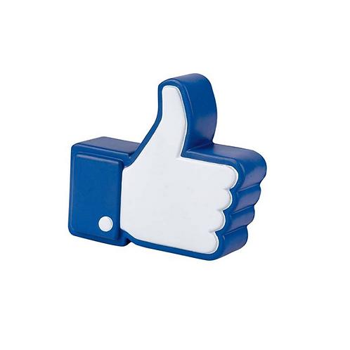 Figura antiestrés de poliuretano en forma de like de Facebook.