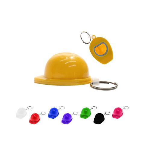Llavero de plástico en forma de casco con destapador