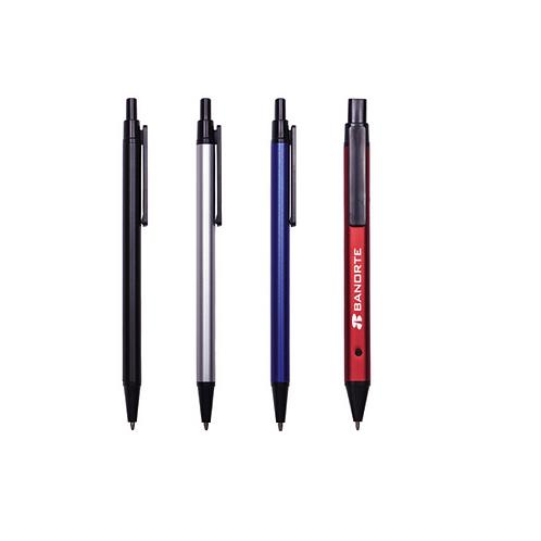 Bolígrafo metálico plano con acabado mate