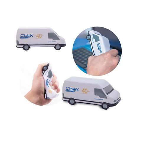 Figura antiestrés de poliuretano en forma de camioneta blanca.