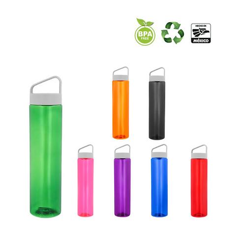 Cilindro de plástico con tapa enroscable y cuerpo de color traslúcido.
