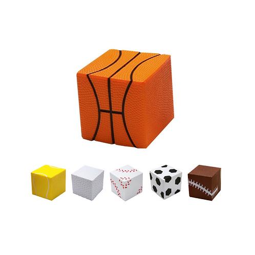 Antiestrés de poliuretano en forma de cubo con apariencia de balón deportivo.