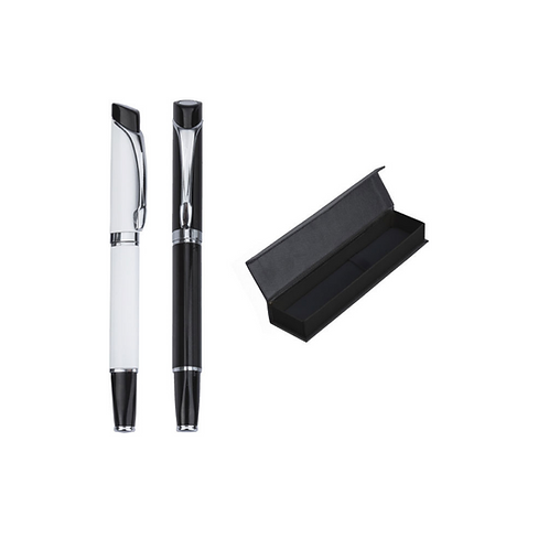 Bolígrafo metálico roller con detalles en color plata
