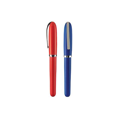 Bolígrafo metálico con tapón, detalles cromados y cuerpos en colores sólidos.