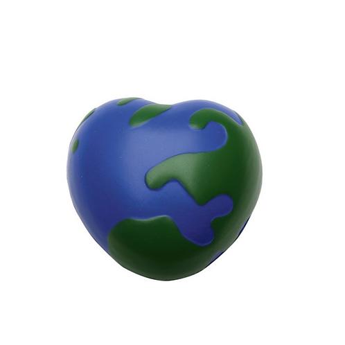 Antiestrés de poliuretano en forma de corazón con textura de mundo.