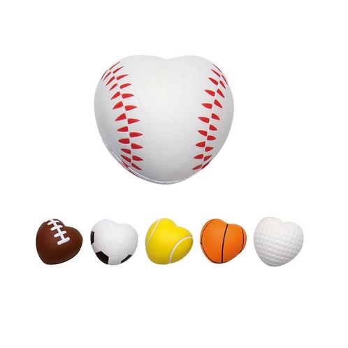 Antiestrés de poliuretano en forma de corazón con apariencia de balón deportivo.