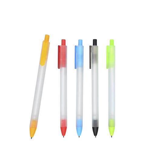 Bolígrafo de plástico con acabado rubber, barril y clip traslúcido
