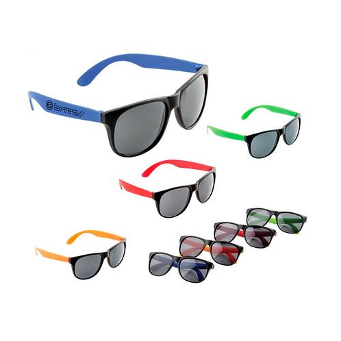 Lentes de sol plásticos en colores sólidos y mica con protección UV400.