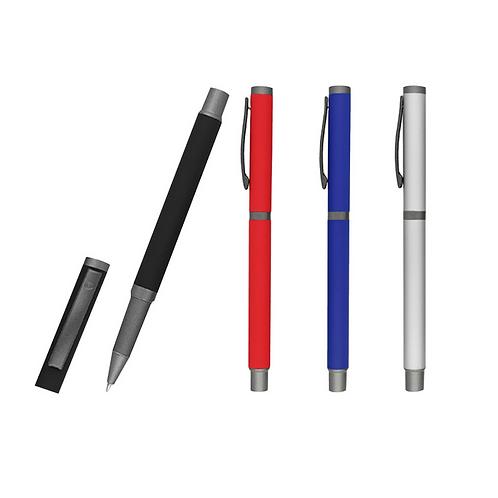 Bolígrafo metálico acabado rubber con tapa, cuerpo en colores y detalles en gris