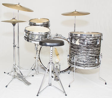 Ringo Starr's 1964 Ludwig oyster black pearl Super Classic model Beatles drum kit.  Historian lecturer Gary Astridge