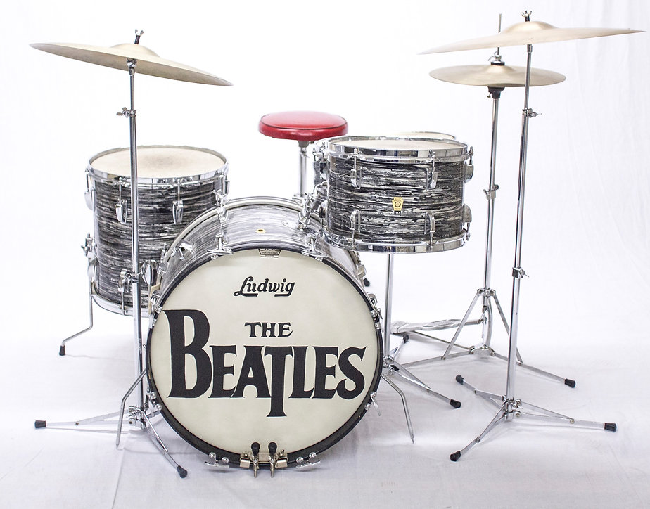 Ringo Starr's 1964 Ludwig Downbeat model Beatles drum kit. Historian Gary Astridge