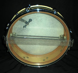 1960 Premier Royal Ace snare drum bottom view. Historian Gary Astridge
